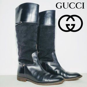 Gucci Leather & Suede Black Classic Riding Boots
